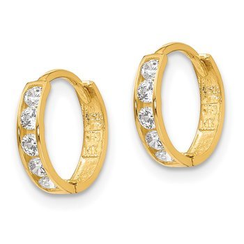 14k Madi K CZ Hinged Hoop Earrings