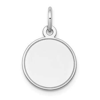14k White Gold Plain .011 Gauge Round Engravable Disc Charm