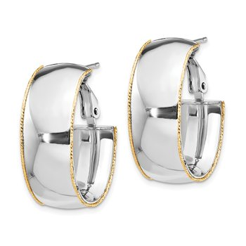 14k WG 9.5mm Polished with YG D/C wire Accent Oval Hoop Earrings