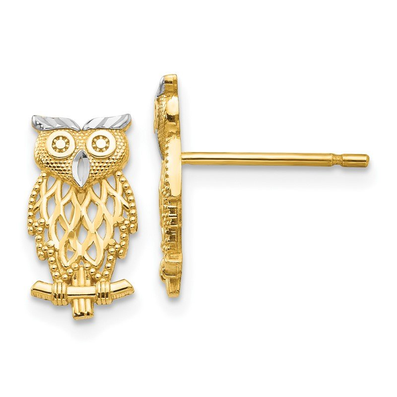 Quality Gold 14k w/Rhodium Polished Cut-out Owl Post Earrings