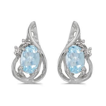 10k White Gold Oval Aquamarine And Diamond Teardrop Earrings