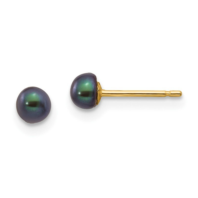 Quality Gold 14k 3-4mm Black Button FW Cultured Pearl Stud Post Earrings
