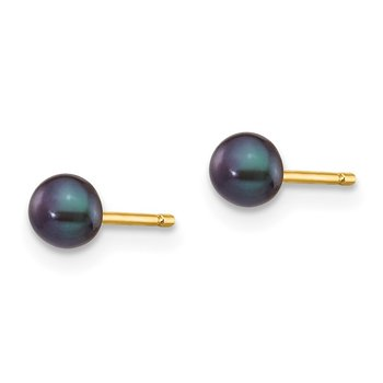 14k 3-4mm Black Button FW Cultured Pearl Stud Post Earrings