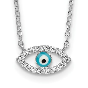 Sterling Silver Rhodium-plated Enamel Eye w/CZ Necklace