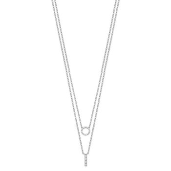 Sterling Silver Rhodium-plated CZ 2-Strand Necklace