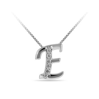 "10K WG and diamond cursive alphabet E ""Chain Sliding "" pendant in prong setting"