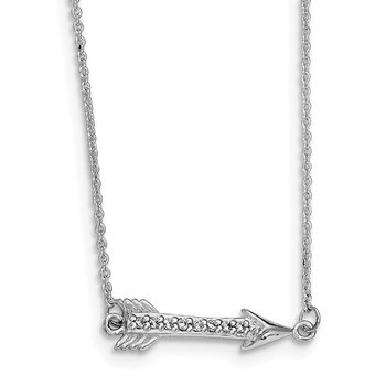 Sterling Silver Rhodium-plated CZ Arrow Necklace
