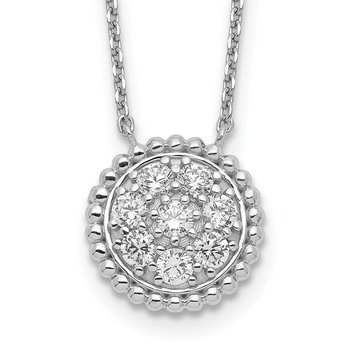 Sterling Silver Circle CZ 18in Necklace