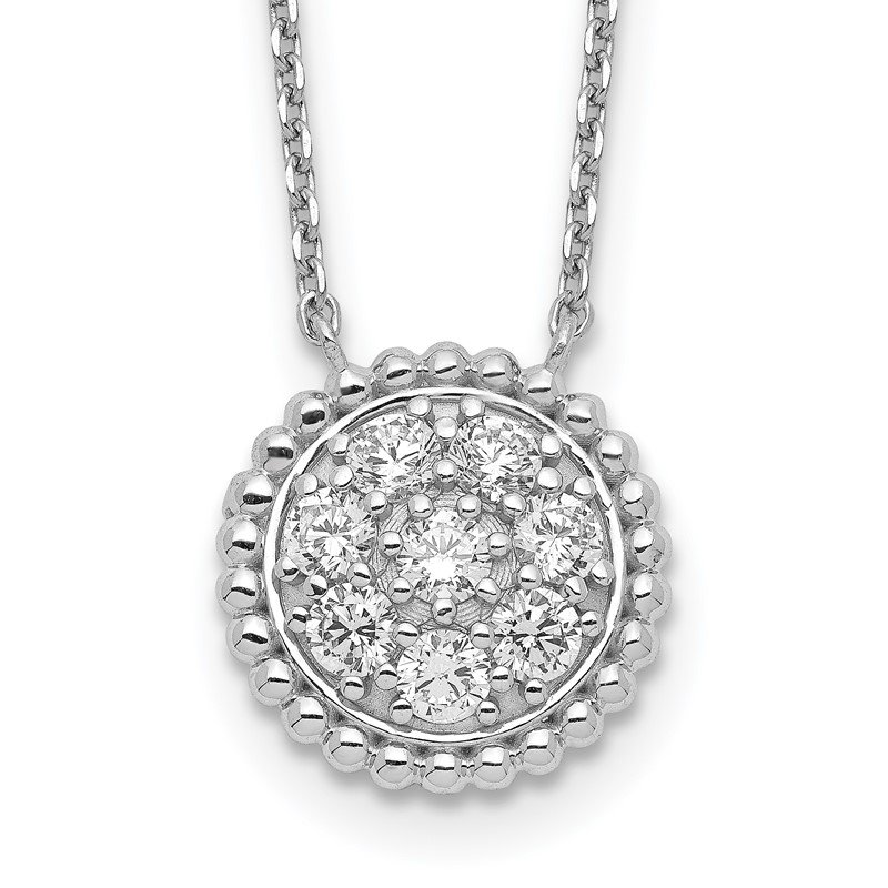 Quality Gold Sterling Silver Circle CZ 18in Necklace