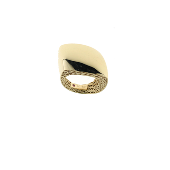 18Kt Gold Slanted Dome Ring