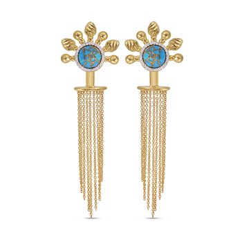 LuvMyJewelry Floating Rays Detachable Turquoise & Diamond Chandelier Earrings in Sterling Silver & 14 KT Yellow Gold Plating