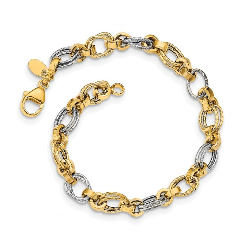Quality Gold 14K Two-tone Gold Polished Fancy Link Bracelet