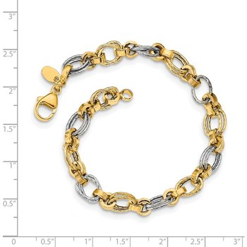 14K Two-tone Gold Polished Fancy Link Bracelet