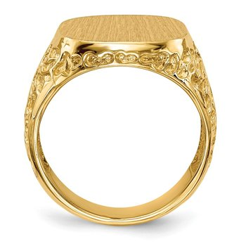 14k 17.5x16.5mm Open Back Men's Signet Ring