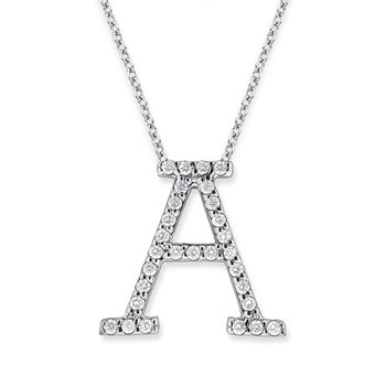 "Diamond All Star Initial ""A"" Necklace in 14K White Gold with 29 diamonds weighing .29ct tw."