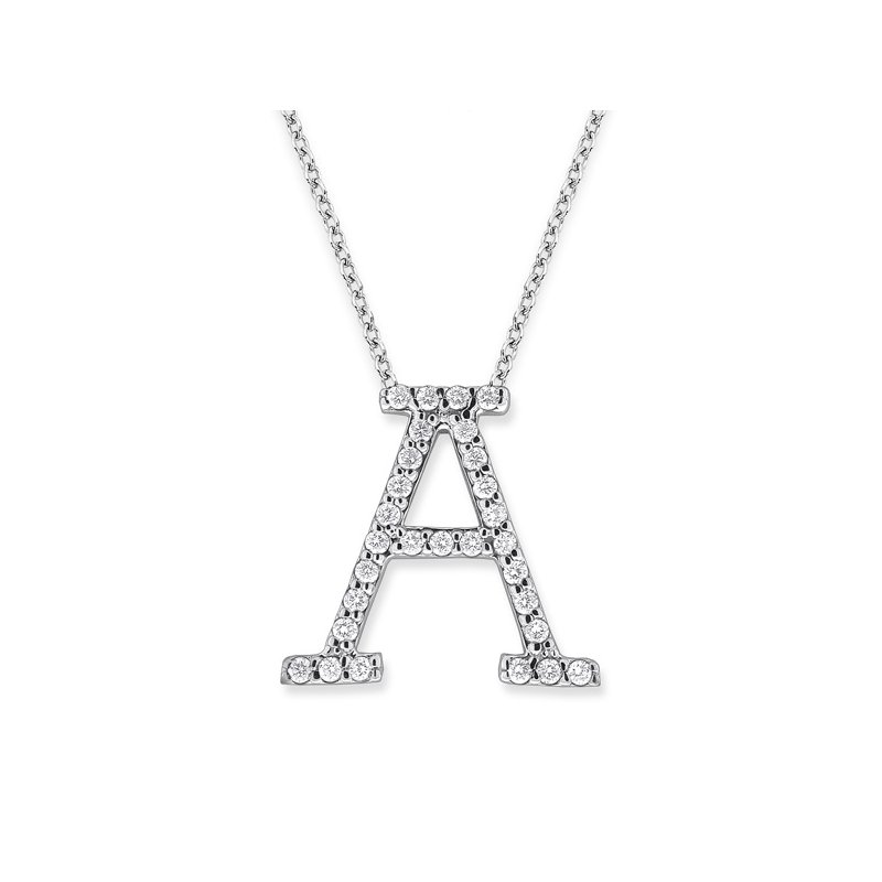 "KC Designs Diamond All Star Initial ""A"" Necklace in 14K White Gold with 29 diamonds weighing .29ct tw."