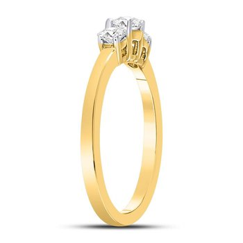 14kt Yellow Gold Womens Round Diamond 3-stone Bridal Wedding Engagement Ring 1/2 Cttw