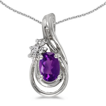 10k White Gold Oval Amethyst And Diamond Teardrop Pendant