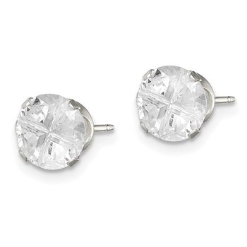 Sterling Silver 7mm Round Snap Set Cross-cut CZ Stud Earrings