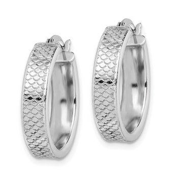 Sterling Silver Rhodium-plated Textured 5x20mm Hoop Earrings