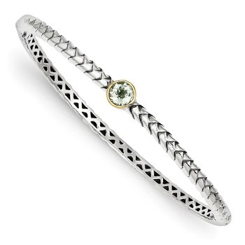 Sterling Silver w/14k Green Quartz Bangle Bracelet