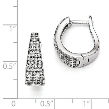 Sterling Silver & CZ Brilliant Embers Polished Hinged Hoop Earrings