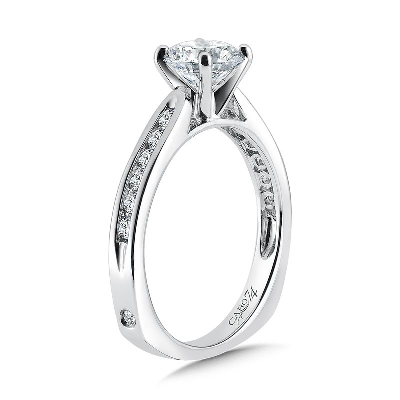 Caro74 Classic Elegance Collection Engagement Ring With Channel-Set Diamond Side Stones in 14K White Gold with Platinum Head (1ct. tw.)