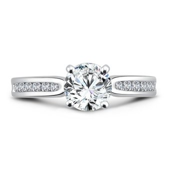 Classic Elegance Collection Engagement Ring With Channel-Set Diamond Side Stones in 14K White Gold with Platinum Head (1ct. tw.)