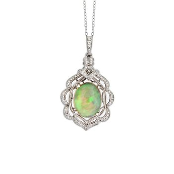 Scallop Opal & Diamond Pendant