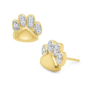 14k Gold and Diamond Paw Earrings