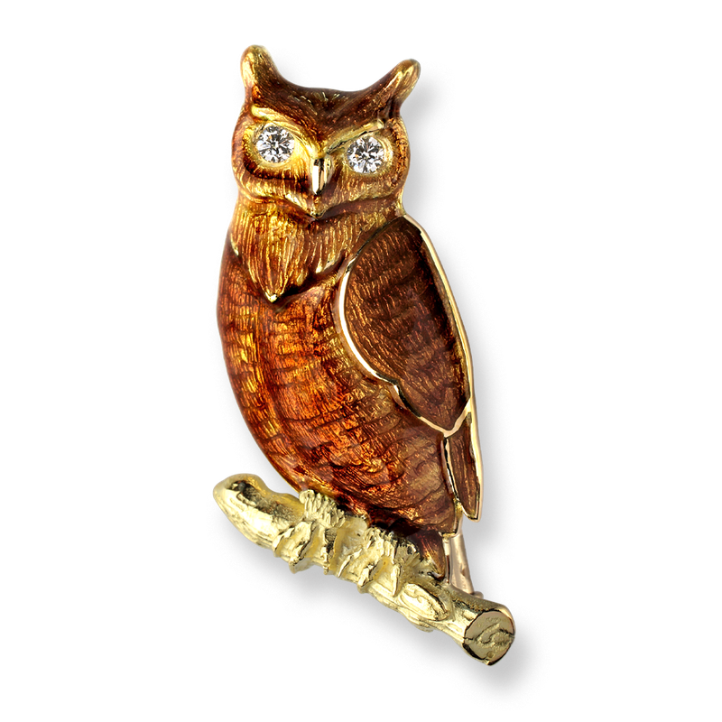 Nicole Barr Designs 18 Karat Gold Owl Brooch-Brown. Diamonds.