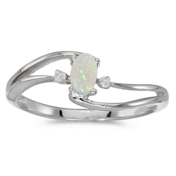 10k White Gold Oval Opal And Diamond Wave Ring