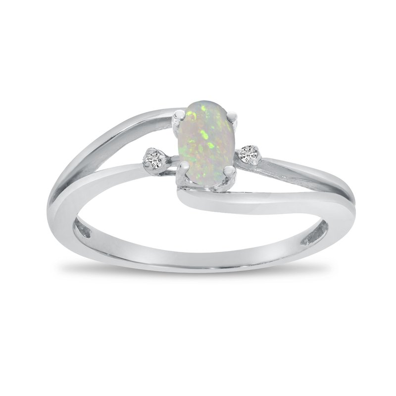 Color Merchants 10k White Gold Oval Opal And Diamond Wave Ring