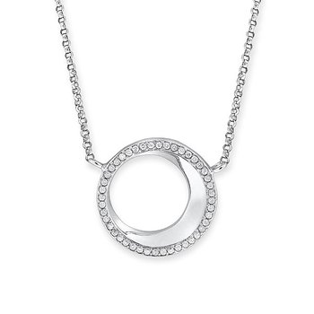 Diamond Circle Necklace in 14K White Gold with 44 diamonds weighing .14ct tw