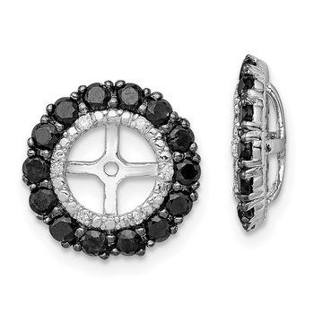 Sterling Silver Rhodium Diam. & Black Sapphire Earring Jacket