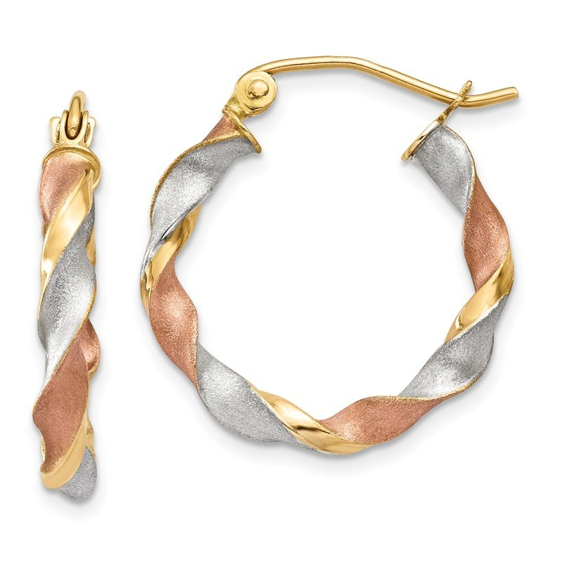 Lester Martin Online Collection 14k White & Rose Rhodium Satin Twisted Hoop Earrings