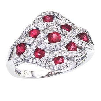14k White Gold Flowing Ruby Diamond Ring
