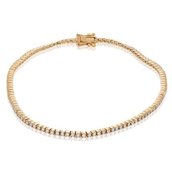 Yellow Gold & Diamond Tennis Bracelet