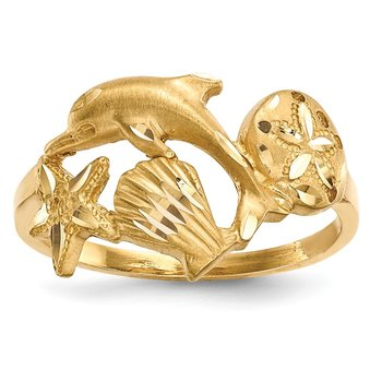 14k Polished and Satin Diamond-cut Dolphin Starfish Shell Sand Dollar Ring