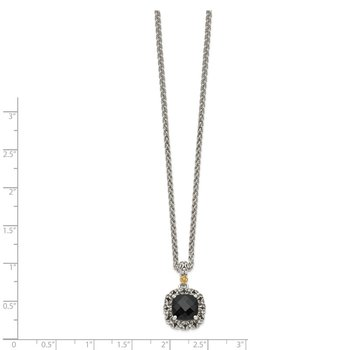 Sterling Silver w/ 14k Polished Onyx Necklace
