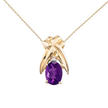14k Yellow Gold 7x5 mm Amethyst and Diamond Oval Shaped Pendant
