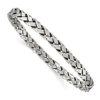 Sterling Silver Antiqued 5.25mm Slip-on Bangle