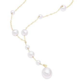 Rosary-Style Pearl Chain Necklace