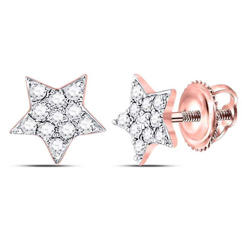 Gold-N-Diamonds, Inc. (Atlanta) 10kt Rose Gold Womens Round Diamond Star Cluster Stud Earrings 1/5 Cttw