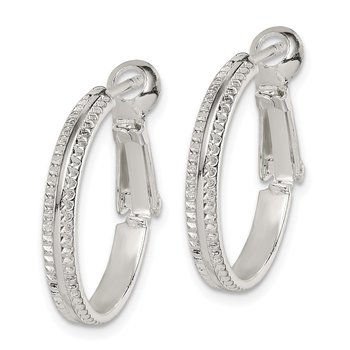 Sterling Silver Milgrain 2x20mm Omega Back Hoop Earrings