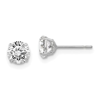 Sterling Silver Rhodium-plated Round CZ 5mm Post Earrings