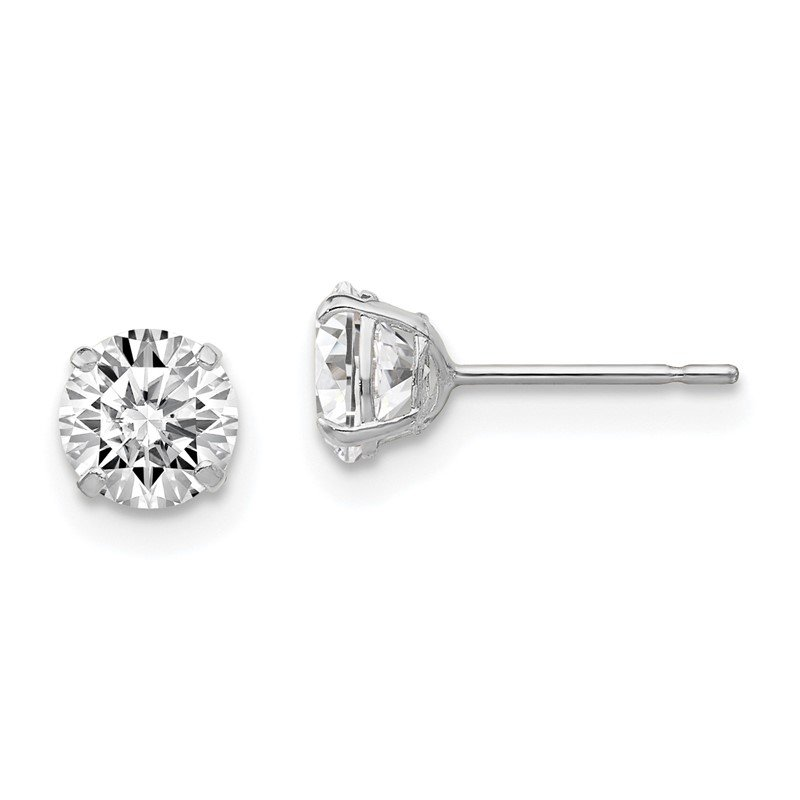 Quality Gold Sterling Silver Rhodium-plated Round CZ 5mm Post Earrings
