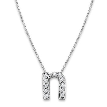 "Diamond Baby Typewriter Initial ""N"" Necklace in 14k White Gold with 11 Diamonds weighing .06ct tw."