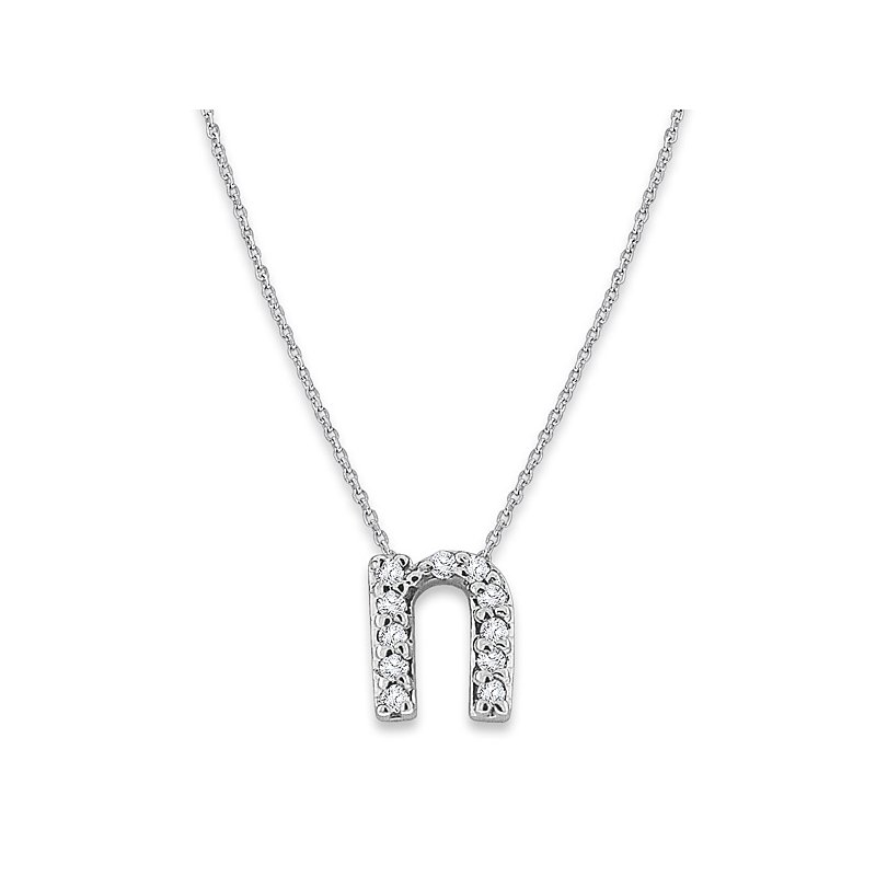 "KC Designs Diamond Baby Typewriter Initial ""N"" Necklace in 14k White Gold with 11 Diamonds weighing .06ct tw."