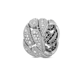 Gourmette Link Ring With Diamonds
